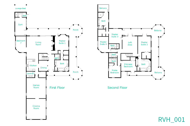 Floor Plan for The House at Reunion - 8,200 Sq.Ft inc balconies, 40 Ft. South Facing Pool, 13 Seat Theater Room, Game Room + Workout Room
