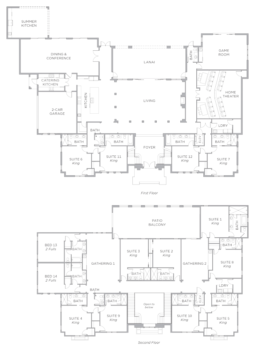 Floor Plan for Reunion Retreat - 14,500 Sq.ft under roof! 14 Suites, Movie Theater, Game Room, Conference Room, Catering kitchen
