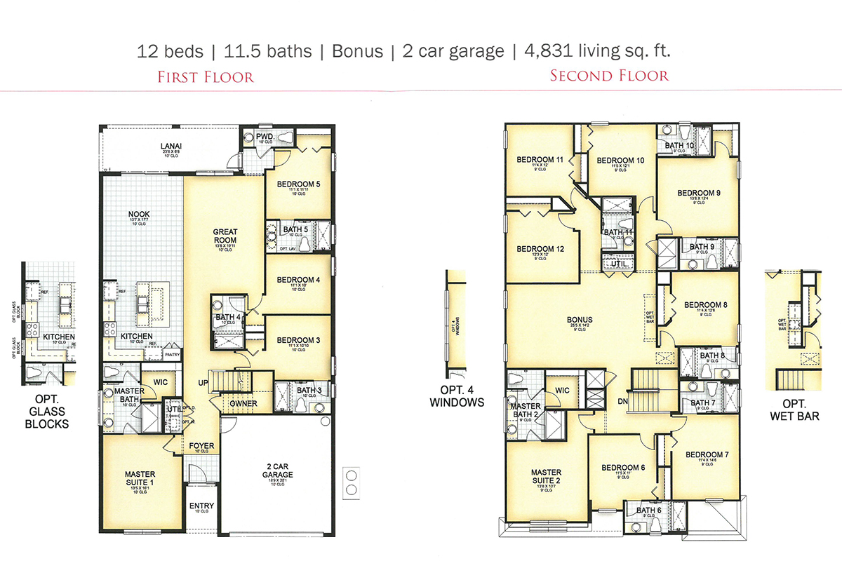 Floor Plan for Splendid Solterra | 12 Bed Pool Home with Theme Rooms to Wow