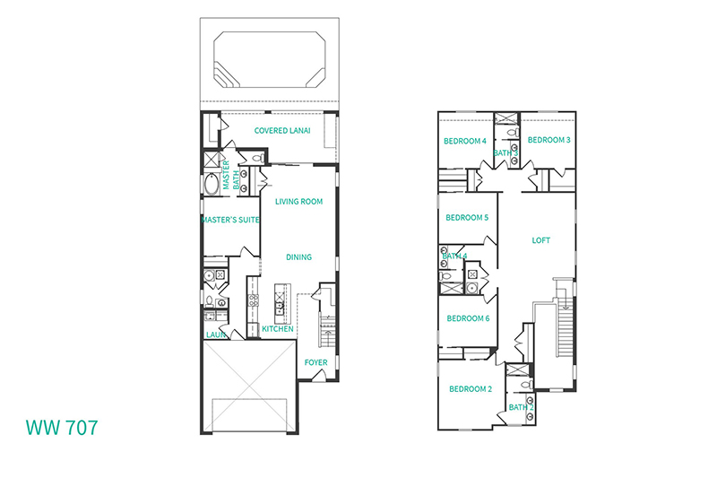 Floor Plan for Westside Breeze   New 6 Bed Private Pool Home with Upgraded Furnishings