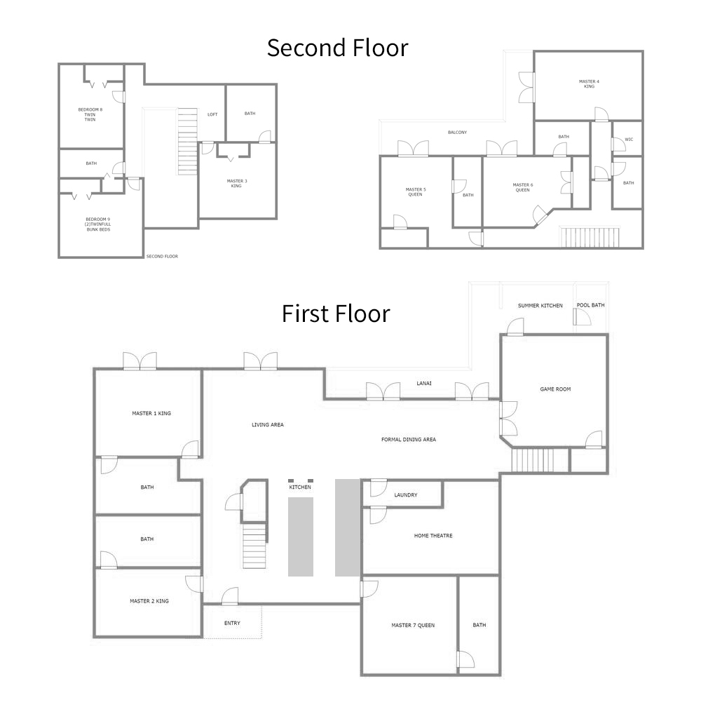 Floor Plan for Ruby Villa - Lake View Home