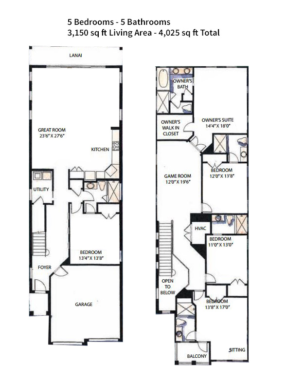 Floor Plan for Fairway Ridge Paradise | Beautiful 5 Bedroom Pool Home |  View of Reunion Resort Golf Course