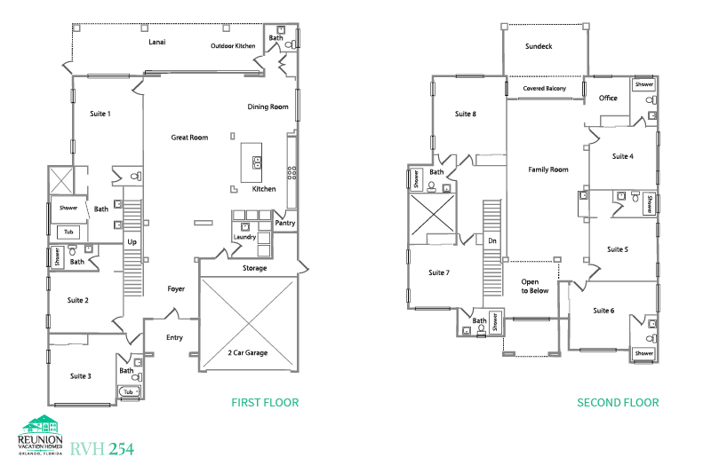 Floor Plan for Reunion Manor | Luxury 8 Bed Home, Custom Kids Bedrooms, Loft Game Area, Summer Kitchen, Balcony with Expansive Views