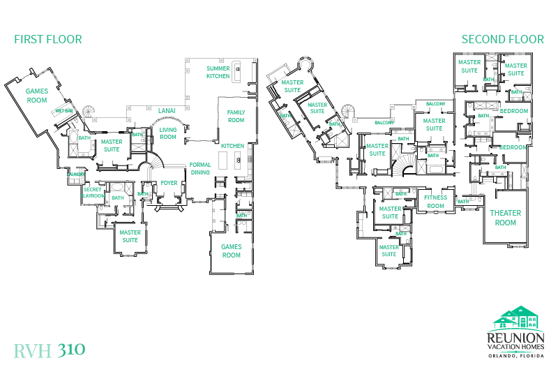 Floor Plan for Luxury Estate | 12 Bed Villa, Spectacular Pool, Game Room, Home Theater, Fitness Room, Secret Playroom, Themed Bedrooms