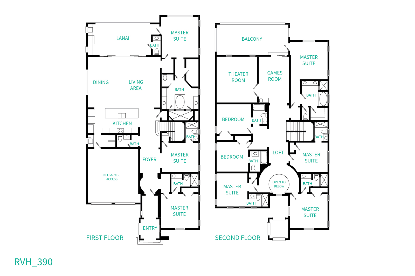 Floor Plan for Ultimate Vacation Home Winner | 9 Bed Home Featured In HGTV's House Hunters with Theater Room, Custom Kids' Bedroom, Games Room, Private Pool and Spillover Spa