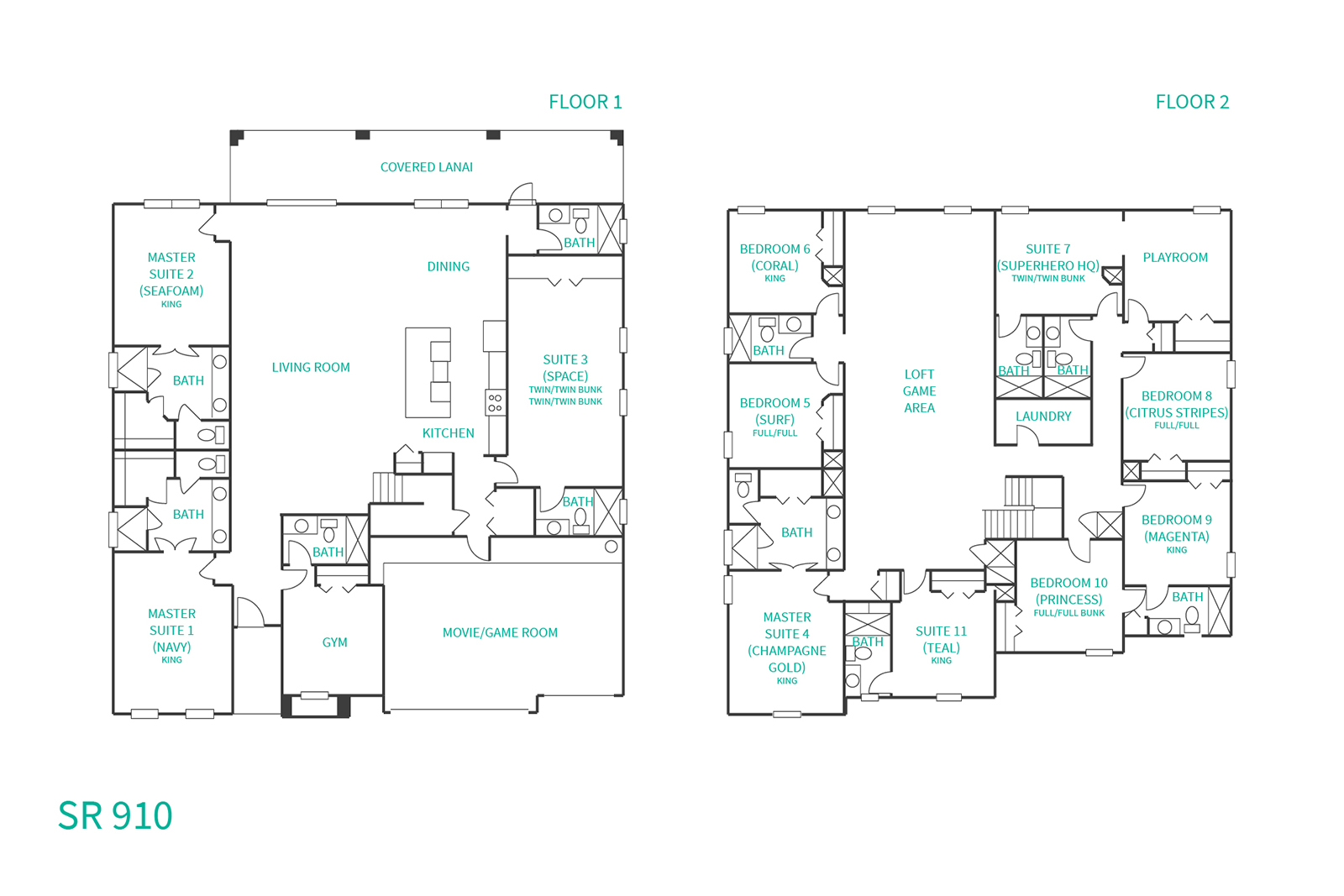 Floor Plan for Ultimate Villa | Huge South Facing Deck, Movie Room, Multiple Arcades, Tiki Bar, Amazing Kids Bedrooms, Secret Playroom & Gym