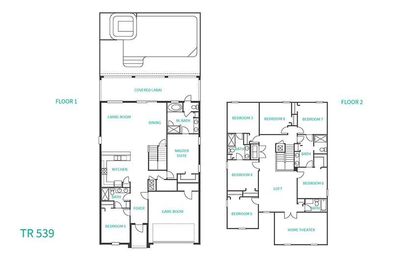 Floor Plan for Casa Luna | 8 Bedroom 5 Bath Villa