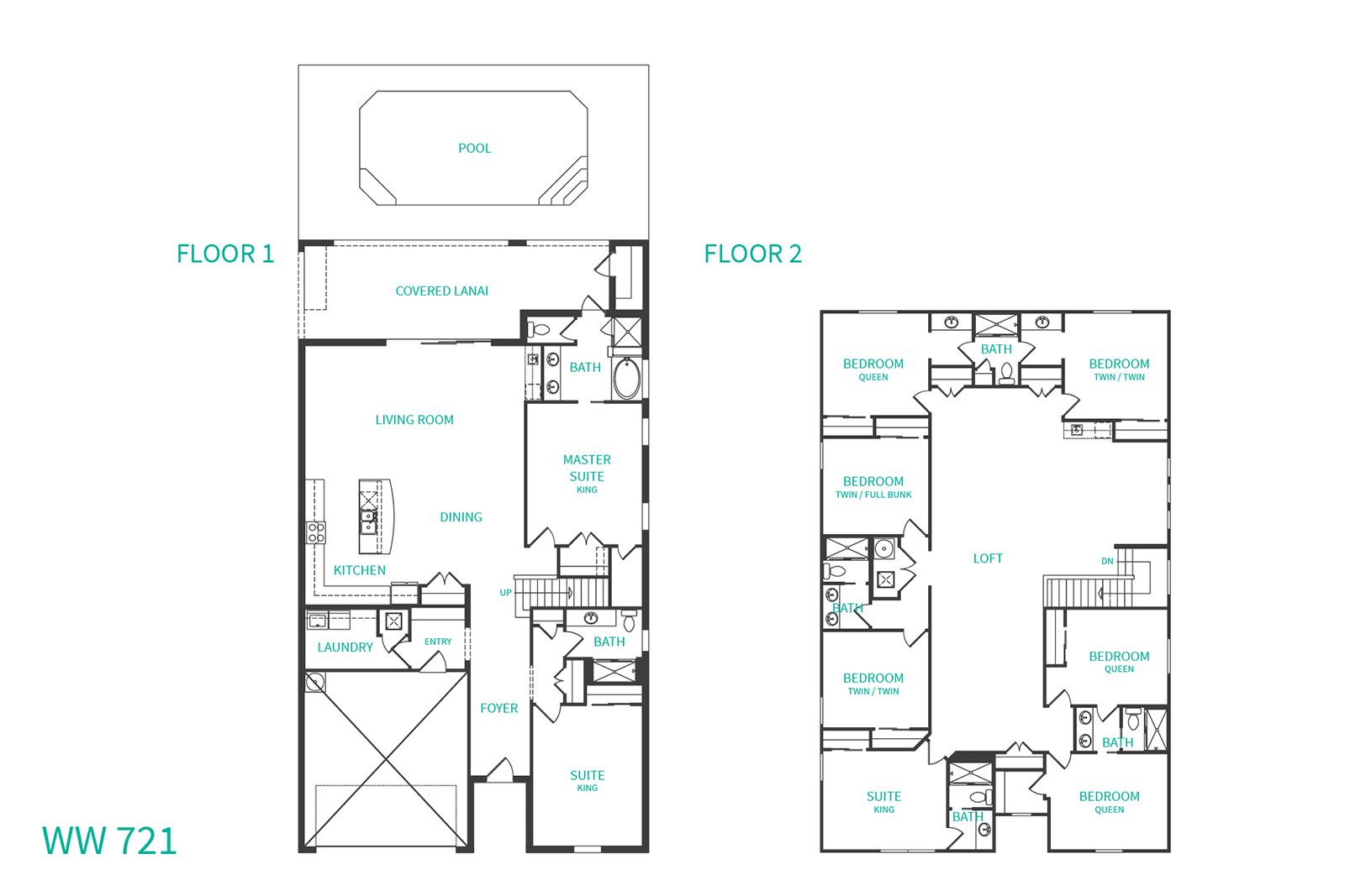 Floor Plan for Westside Star | Windsor at Westside Resort |9 bedrooms - 6 bathrooms